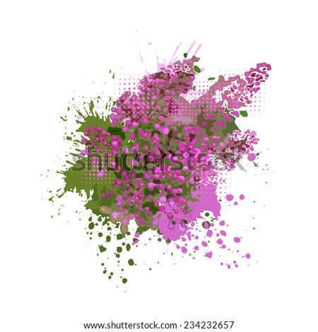 Abstract lilac with spots of paint. Vector - stock vector