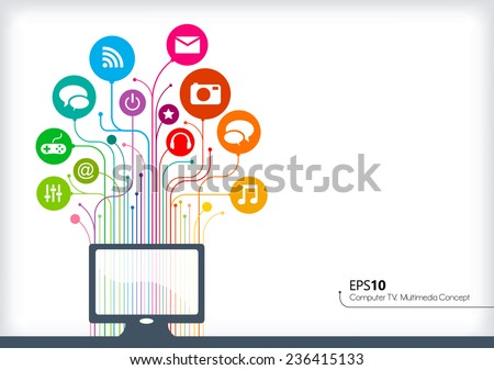 Abstract line background. Technology, Multimedia and Communication concept. - stock vector