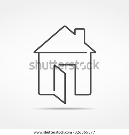 Abstract line house icon, vector eps10 illustration - stock vector