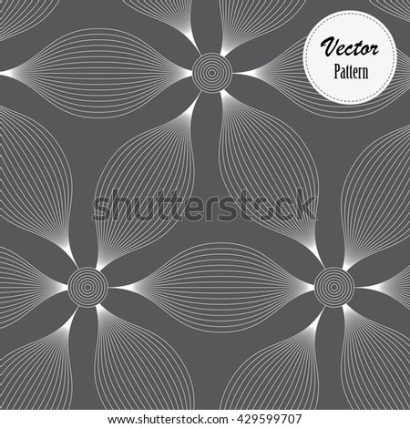 Abstract linear petal flower decorate linear circle at center on dark background. Vector pattern - stock vector