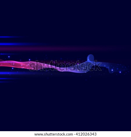 Abstract  lines background and neon light, vector - stock vector