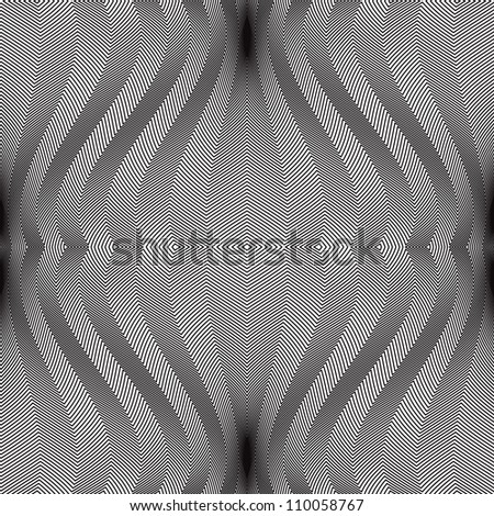 Abstract lines seamless pattern, monochrome vector background. - stock vector