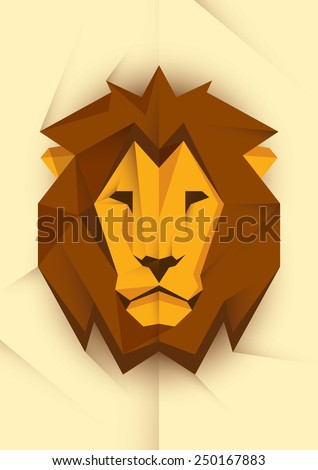 Abstract lion's head. Vector illustration. - stock vector