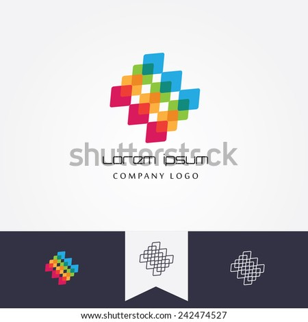 abstract logo element made of colorful transparent cubes mutually connected- visual identity icon with black and white monogram emblems versions - stock vector