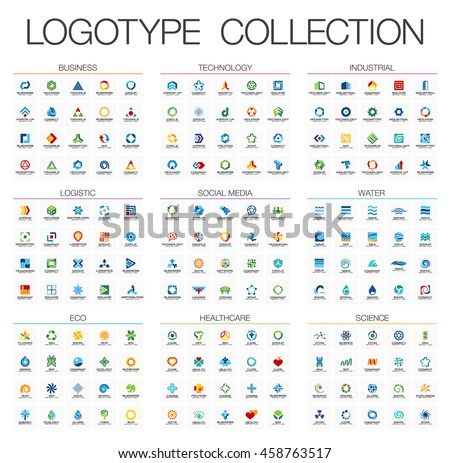 Abstract logo set for business company. Corporate identity design elements. Technology, Eco, Science, Healthcare concepts. Industrial, Logistic, Social Media Logotype collection. Colorful Vector icons - stock vector