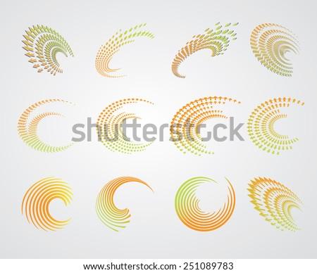 Abstract Logo Set. Unusual Spiral Icons. Vector Logo Design Template Collection. - stock vector
