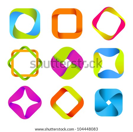 Abstract logo templates. Infinite shapes.  Square icons set. - stock vector