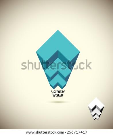 abstract logo Vista. 3D business icon. The concept of construction. Building vector icon - stock vector