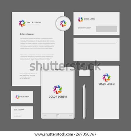 Abstract Logotype corporate identity template Mock up design elements. Vector clean white Business stationery, cd, envelope, document, business card, . - stock vector