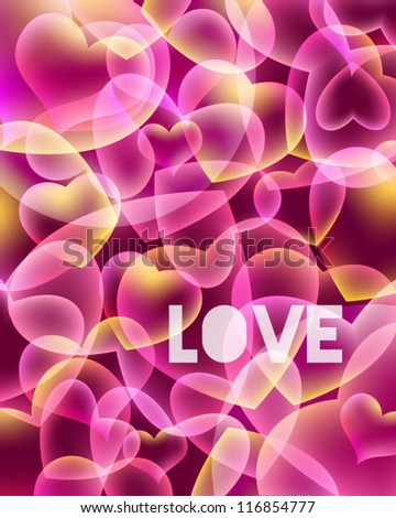 Abstract love background with hearts, clipping mask used - stock vector