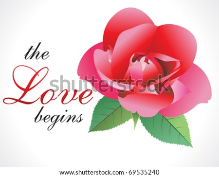 abstract love rose wallpaper vector illustration - stock vector