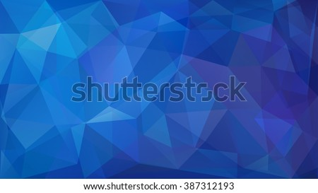 Abstract low poly background of triangles in blue colors - stock vector