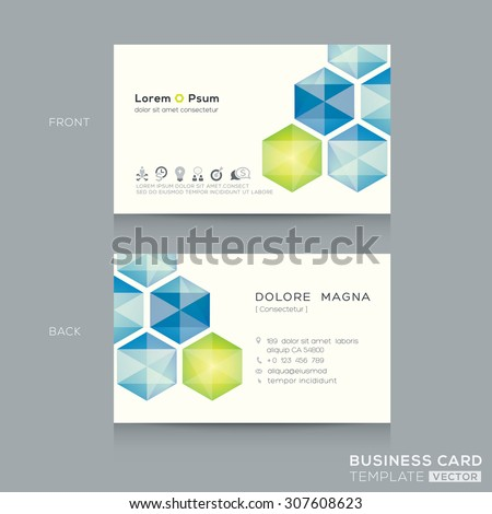 Abstract low poly business card design template - stock vector