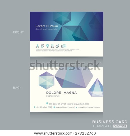 abstract low poly design business card Template - stock vector