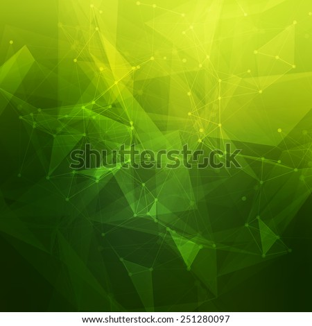 Abstract low poly green bright technology vector background. Connection structure. Vector data science background. Polygonal vector background. Molecule And Communication Background. - stock vector