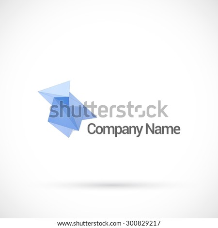 Abstract low poly, logo design vector template. - stock vector