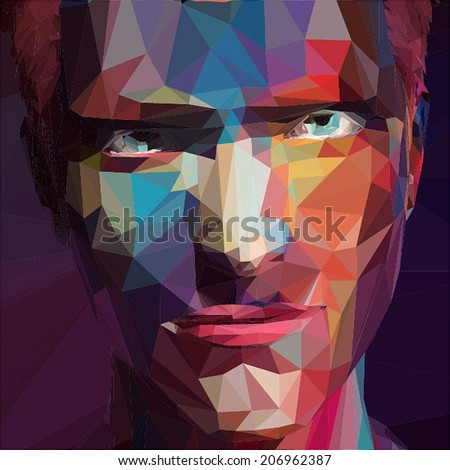 Abstract low poly, pop art portrait man. - stock vector