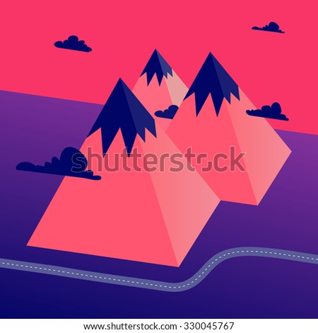 Abstract low-polygon 3D mountains landscape in surreal colors with road and clouds .Eps 10 stock vector illustration  - stock vector