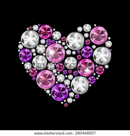 Abstract Luxury Diamond Heart Vector Illustration EPS10 - stock vector