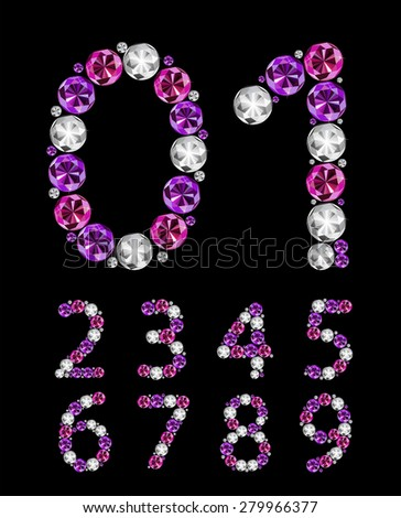 Abstract Luxury Diamond Numbers Vector Illustration EPS10 - stock vector