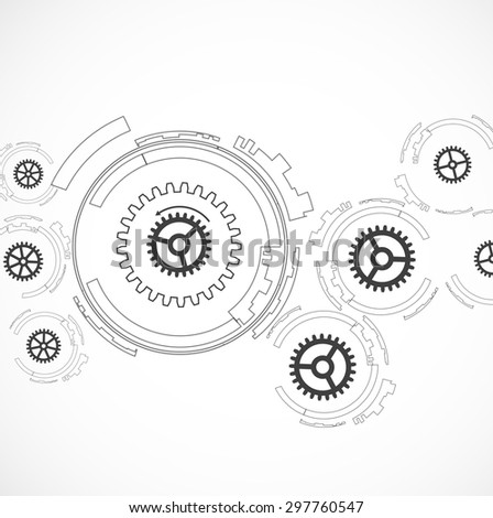 Abstract machine technology gears. Mechanism abstract background - stock vector