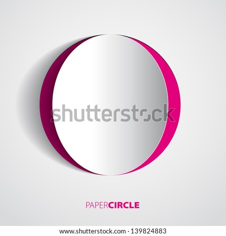 Abstract magenta and white paper circle on light background - Vector eps10 illustration - stock vector