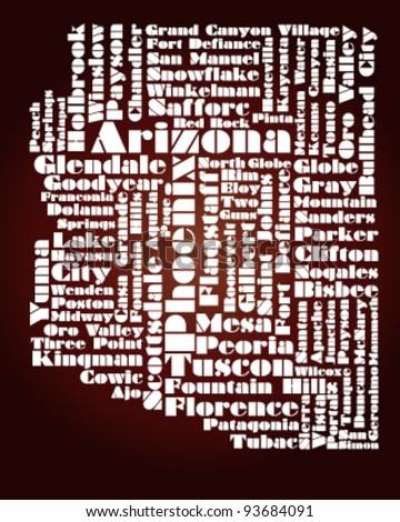 abstract map of Arizona state - word cloud - stock vector