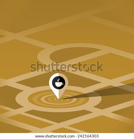 Abstract map pointer sign with hot coffee cup - cafe symbol. With copy space for your restaurant or cafe address. - stock vector