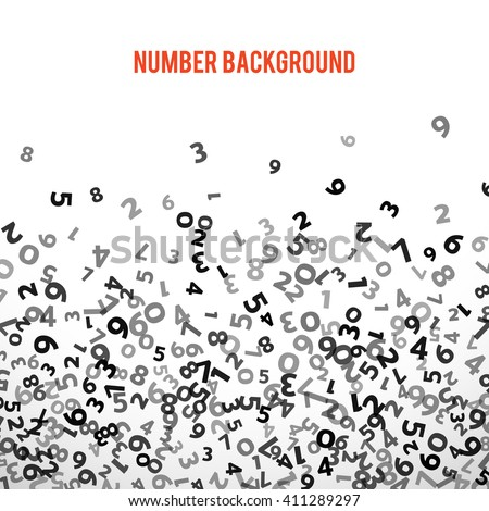 Abstract math number background. Vector illustration for report. Sequence mathematical decoration. Statistics concept on white background. Fly collage. School education poster. Border frame pattern - stock vector