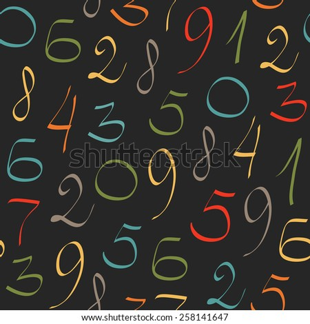 Abstract mathematics background. Seamless pattern with colored numerals on black background.  - stock vector