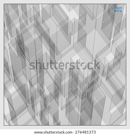 Abstract matrix wireframe of building. Vector illustration. - stock vector