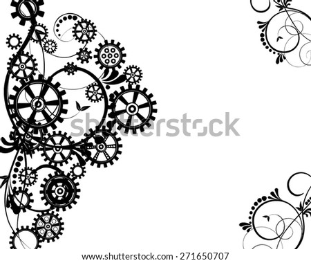 Abstract mechanical background with floral elements, vector illustration. Steam punk gear. - stock vector