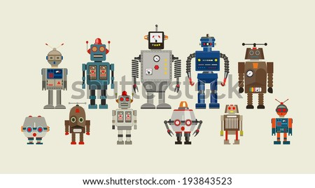 Abstract mechanical robots set isolated on white. Vector illustration - stock vector