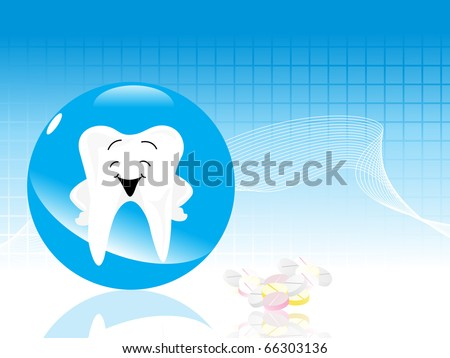 abstract medical background with fresh apple and teeth - stock vector