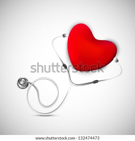 Abstract medical background with heart and stethoscope. - stock vector