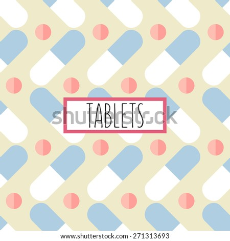Abstract medical background with pills - stock vector