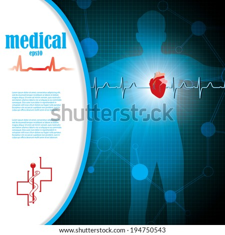 Abstract medical cardiology ekg blue background  - stock vector