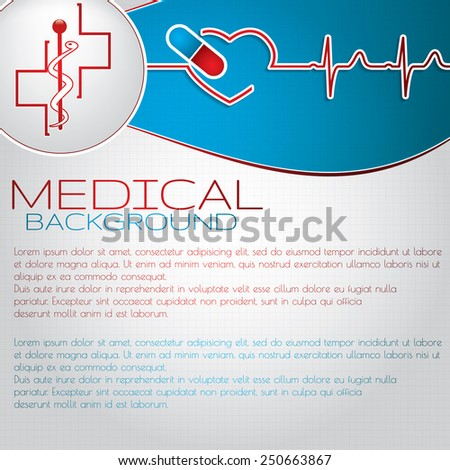 Abstract medical cardiology EKG illustration red blue background  - stock vector
