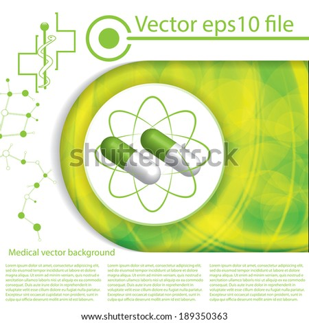 Abstract medical green pills illustration background  - stock vector