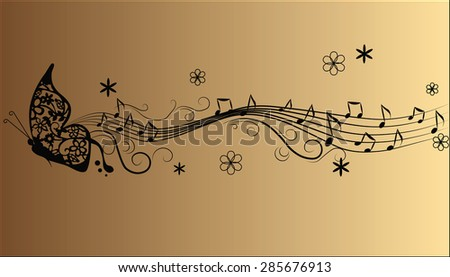 Abstract melody Music notes and butterfly composition. Vector - stock vector