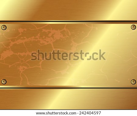 Abstract metallic background of gold  plate for your design - stock vector