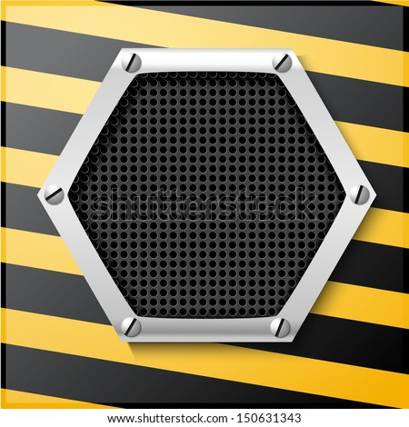 Abstract metallic striped black and yellow background - stock vector