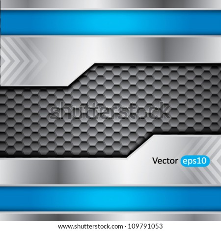 Abstract metallic vector background with steel and blue colors and place for text - stock vector