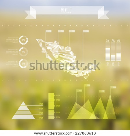 Abstract Mexico Map with Infographic Elements on Blurred Background - Vector Illustration - Webdesign Template - stock vector