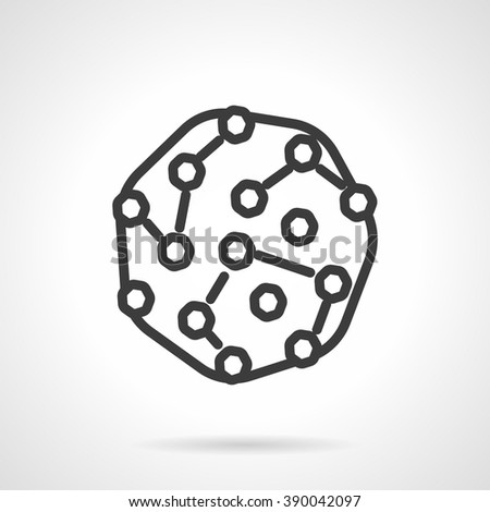 Abstract microorganisms colony. Bacteria culture. Pathogens model. Microbiology research. Black line style single vector icon. Element for web design, business, mobile app.  - stock vector
