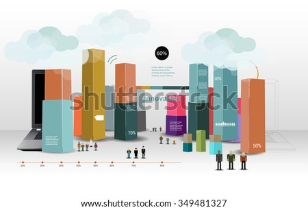 abstract minimal city infographics - stock vector