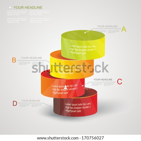 Abstract Minimal Ifographic Design on cylinder style. Can be used for infographics, numbered options, steps to success, website layout.  - stock vector