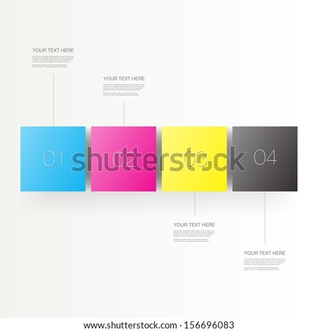 Abstract minimal numbered CMYK cubes infographic design with your text and thin lines Eps 10 vector illustration - stock vector