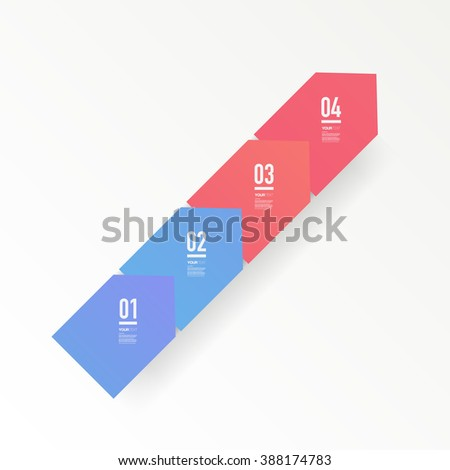 Abstract minimal red and blue arrows text box design with numbers and your text can be used for workflow layout, number options, web design.  Eps 10 stock vector illustration - stock vector
