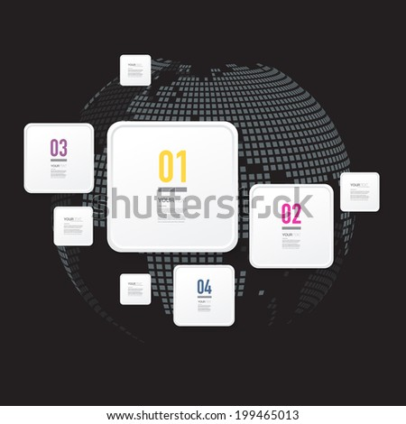 Abstract minimal white numbered square text box design, numbers and your text  can be used for workflow layout, number options, web design.  Eps 10 stock vector illustration - stock vector